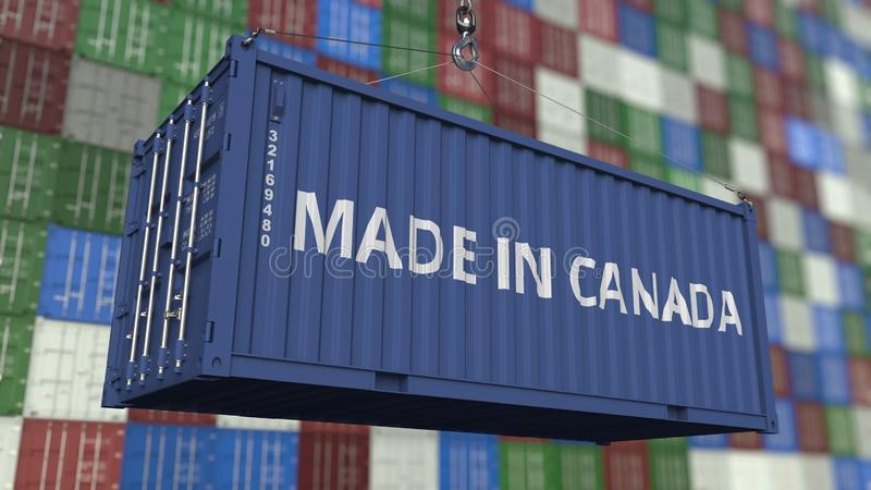 Container with MADE IN CANADA caption. Canadian import or export related 3D rendering. Container with MADE IN CANADA caption. Canadian import or export related stock illustration