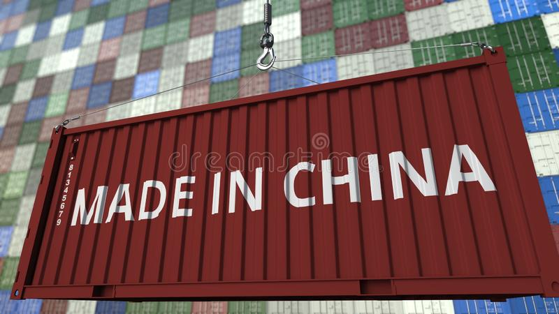 Container with MADE IN CHINA caption. Chinese import or export related 3D rendering. Container with MADE IN CHINA caption. Chinese import or export related 3D stock illustration
