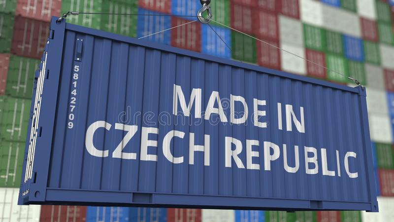 Container with MADE IN CZECH REPUBLIC caption. Import or export related 3D rendering. Container with MADE IN CZECH REPUBLIC caption. Import or export related 3D vector illustration