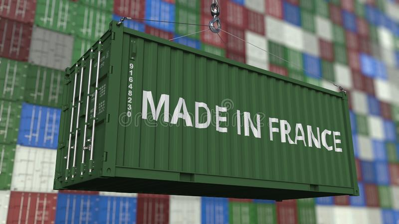 Container with MADE IN FRANCE caption. French import or export related 3D rendering. Container with MADE IN FRANCE caption. French import or export related 3D stock illustration