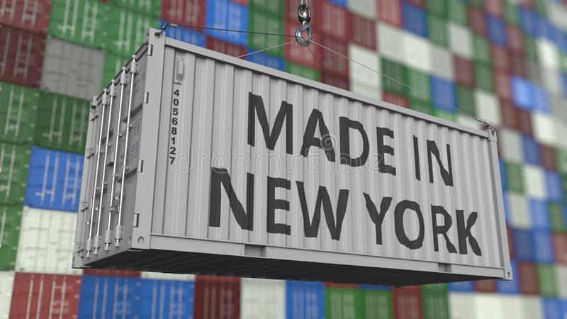 Container with MADE IN NEW YORK caption. Import or export related 3D rendering. Container with MADE IN NEW YORK caption. Import or export related 3D stock illustration