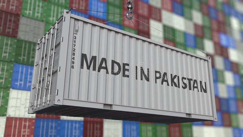 Container with MADE IN PAKISTAN caption. Pakistani import or export related 3D rendering. Container with MADE IN PAKISTAN caption. Pakistani import or export royalty free illustration