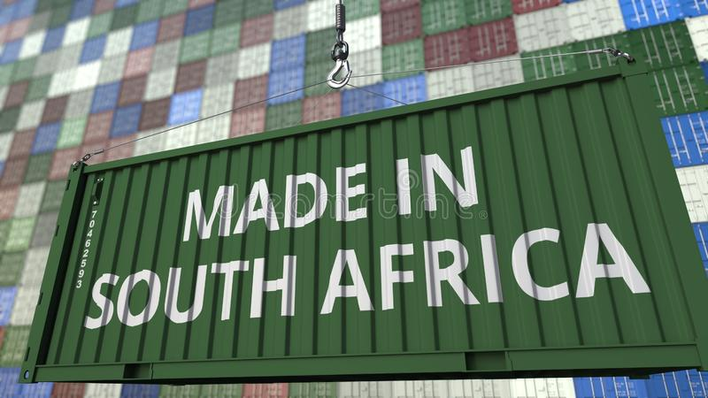 Container with MADE IN SOUTH AFRICA caption. Import or export related 3D rendering. Container with MADE IN SOUTH AFRICA caption. Import or export related 3D stock illustration