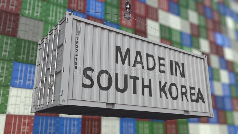 Container with MADE IN SOUTH KOREA caption. Korean import or export related 3D rendering. Container with MADE IN SOUTH KOREA caption. Korean import or export royalty free illustration