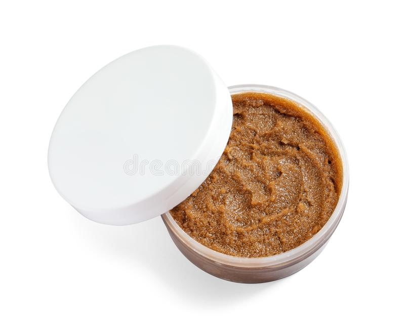 Container with natural scrub royalty free stock photography