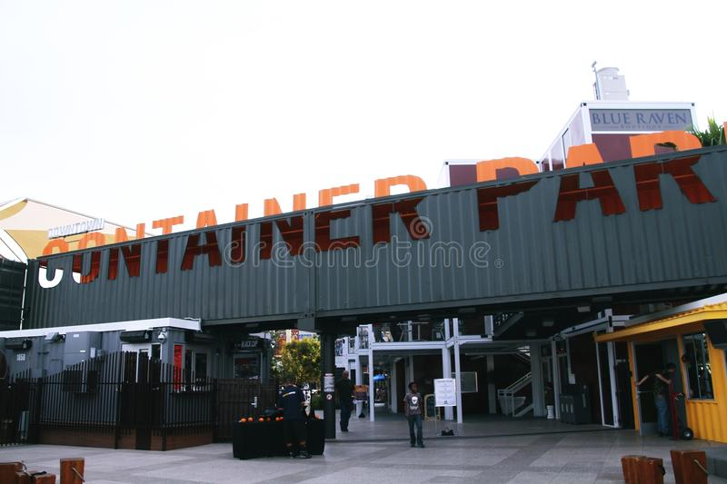 Container Park in Downtown Las Vegas. LAS VEGAS - OCT 27, 2015 - Container Park on OCT 27, 2015 in Las Vegas. Container Park is the latest expansion and stock photo