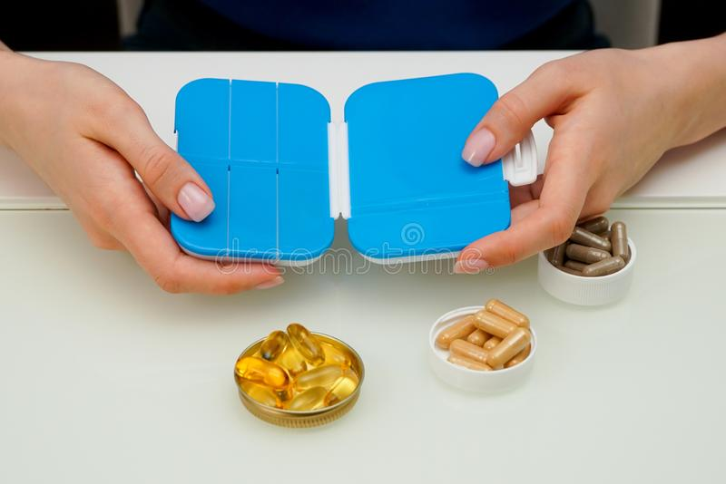 Container for pills close-up stock photo