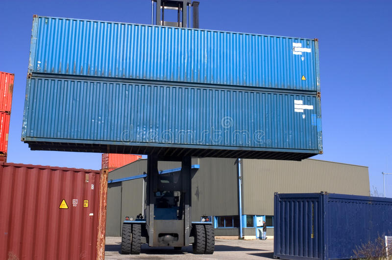 Container on the port. Container on the French port of Marseille loans to being dispatched by boat royalty free stock photo