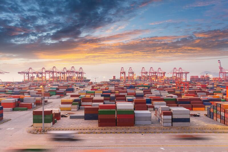 Container port in sunset stock photography
