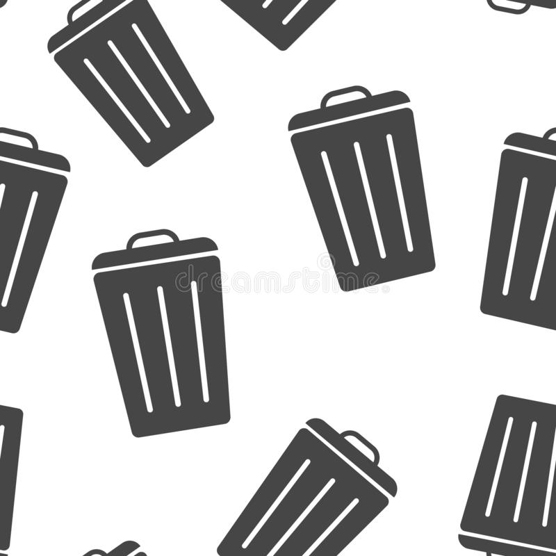 Container recycling of garbage sign isolated. Icon bin. Flat image Trash can seamless pattern on a white background stock illustration