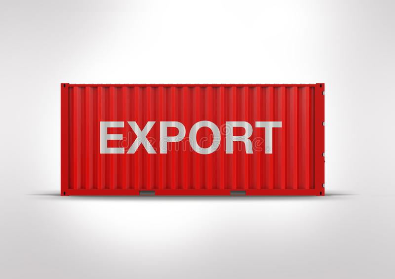 A container or red container in 3D rendering stock image
