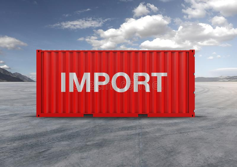 A container, red container in 3D rendering. Key element in globalization, reduces costs, accelerates logistics, used by importers and exporters royalty free stock photography