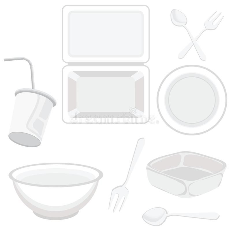 Container set made of plastic foam on a white background. Cup Plate Foam Spoon White stock illustration