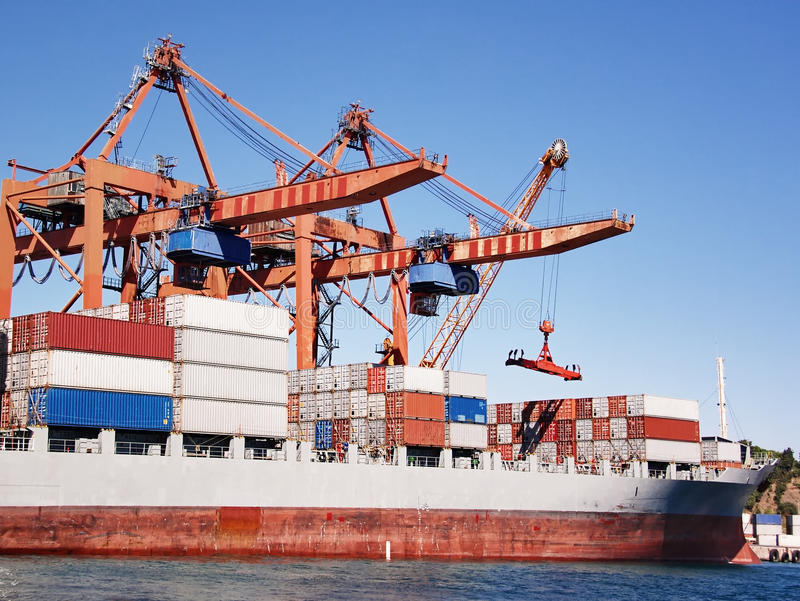 Download Container ship stock image. Image of bridge, gray, full - 12576075