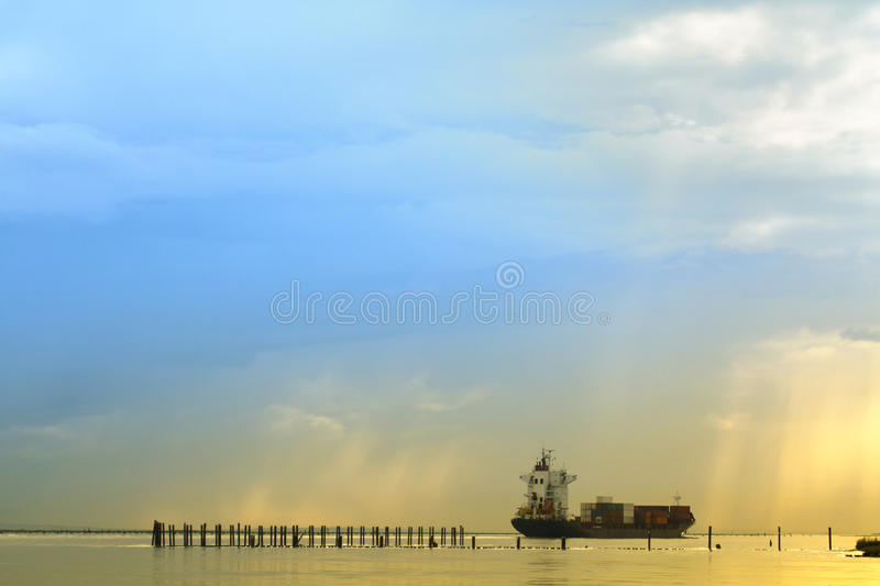 Download Container ship stock image. Image of blue, cloud, container - 16284851