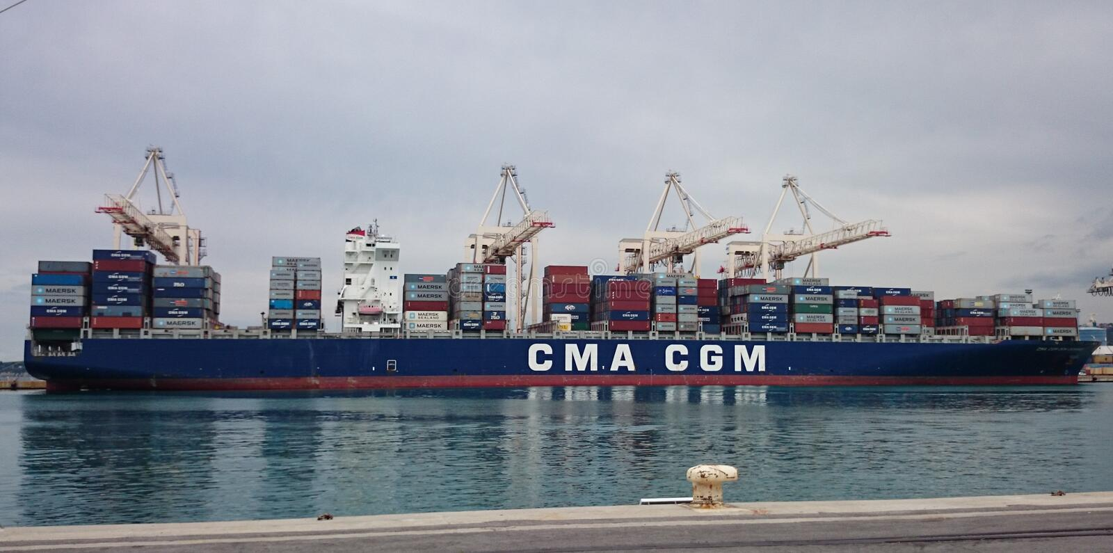 Container ship anchored in port stock photos