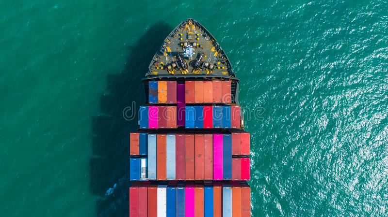 Container ship arriving in port, container ship going to deep sea port, logistic business import export shipping and. Transportation, Aerial view stock image