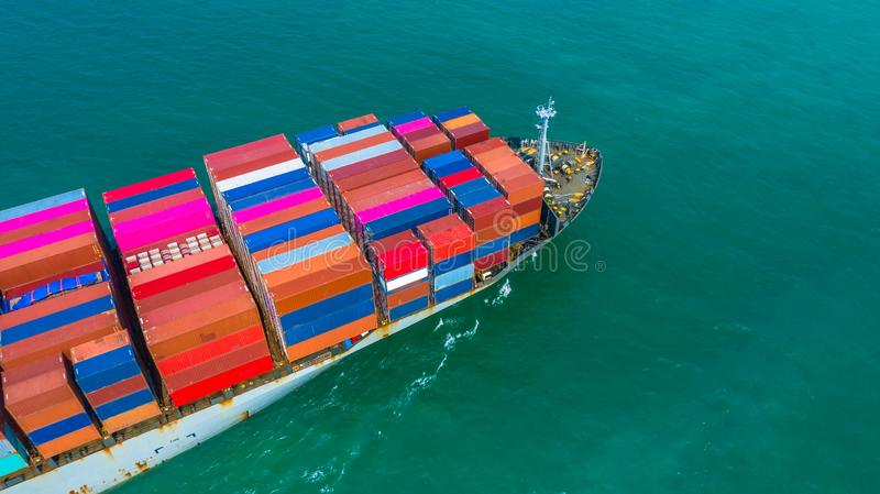 Container ship arriving in port, container ship going to deep sea port, logistic business import export shipping and. Transportation, Aerial view stock photography