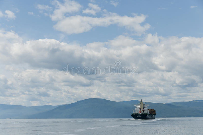 Download Container Ship On A Beautiful Blue Sky Editorial Image - Image: 19632935