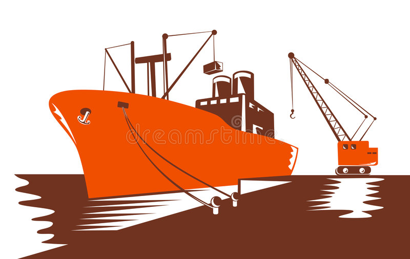 Container ship being loaded by stock illustration