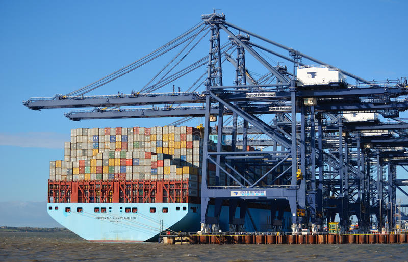 Container ship being unloaded at Felixstowe docks stock photography