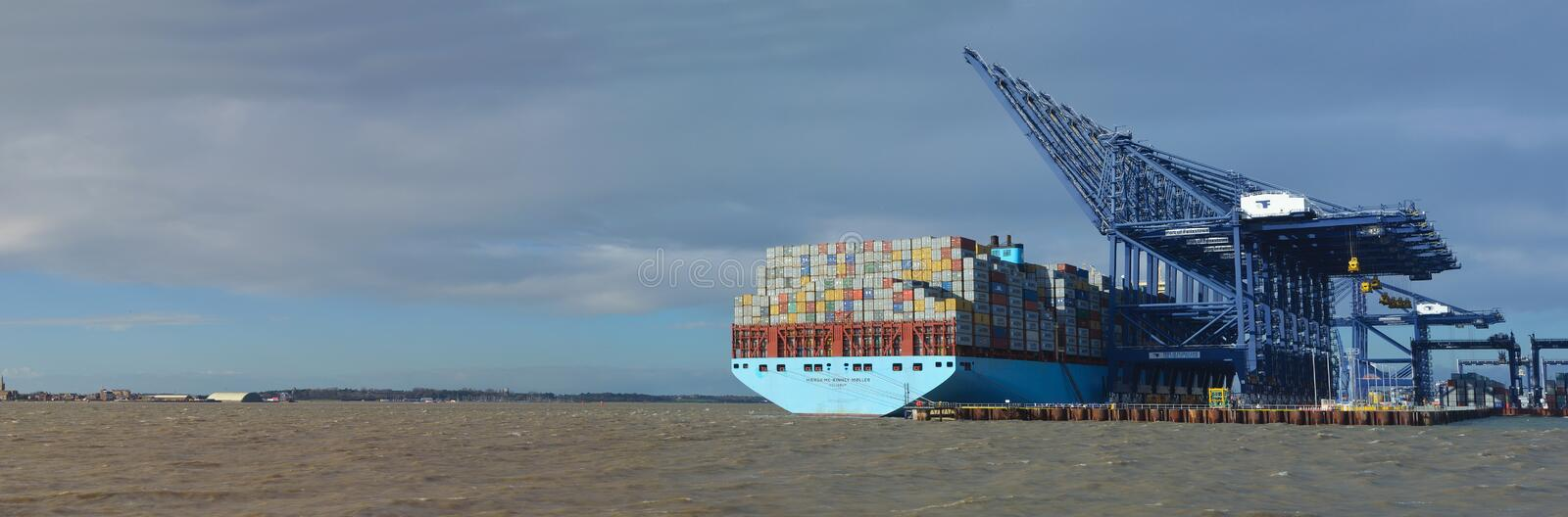 Container ship being unloaded at Felixstowe panorama docks suffolk England. royalty free stock image