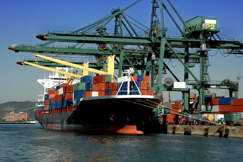Container ship black red royalty free stock image