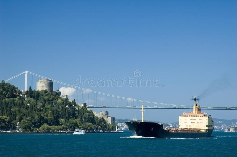 Container ship on the bosphorus stock photo