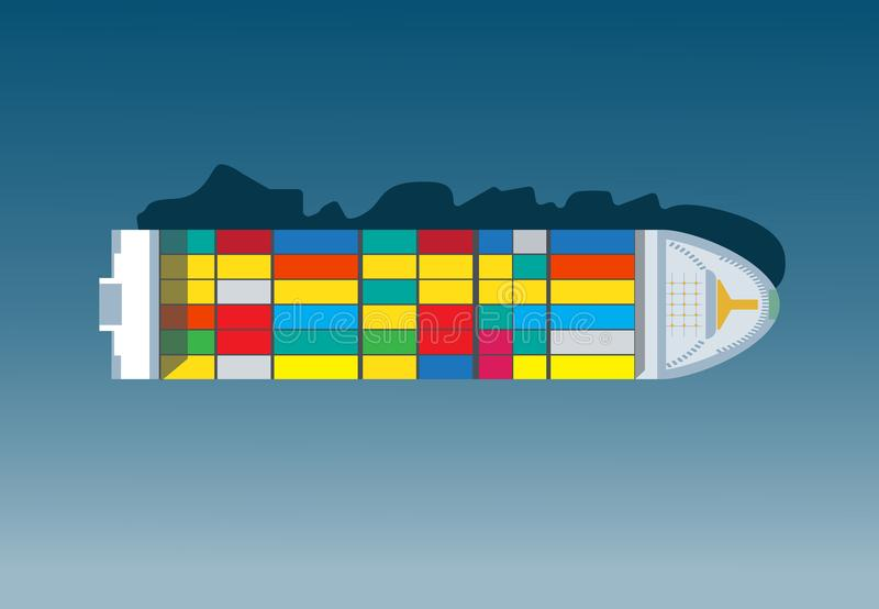 Container Ship. Cargo to Harbor. Container ship. Aerial top view. Cargo to harbor. Vector illustration flat design stock illustration