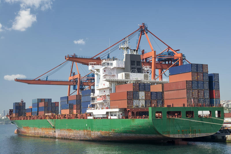 Container Ship. Docked At Harbor royalty free stock image