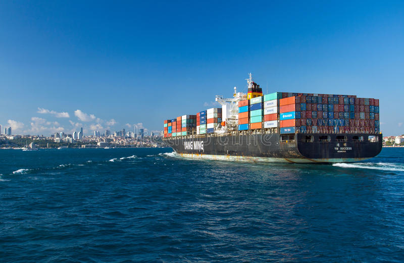 Container ship entering Bosphorus royalty free stock images