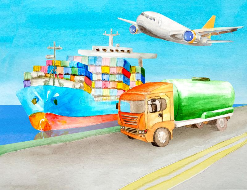 A container ship floats on the water near the shore on which a green cistern tank truck can goes with a orange cabin for an royalty free illustration
