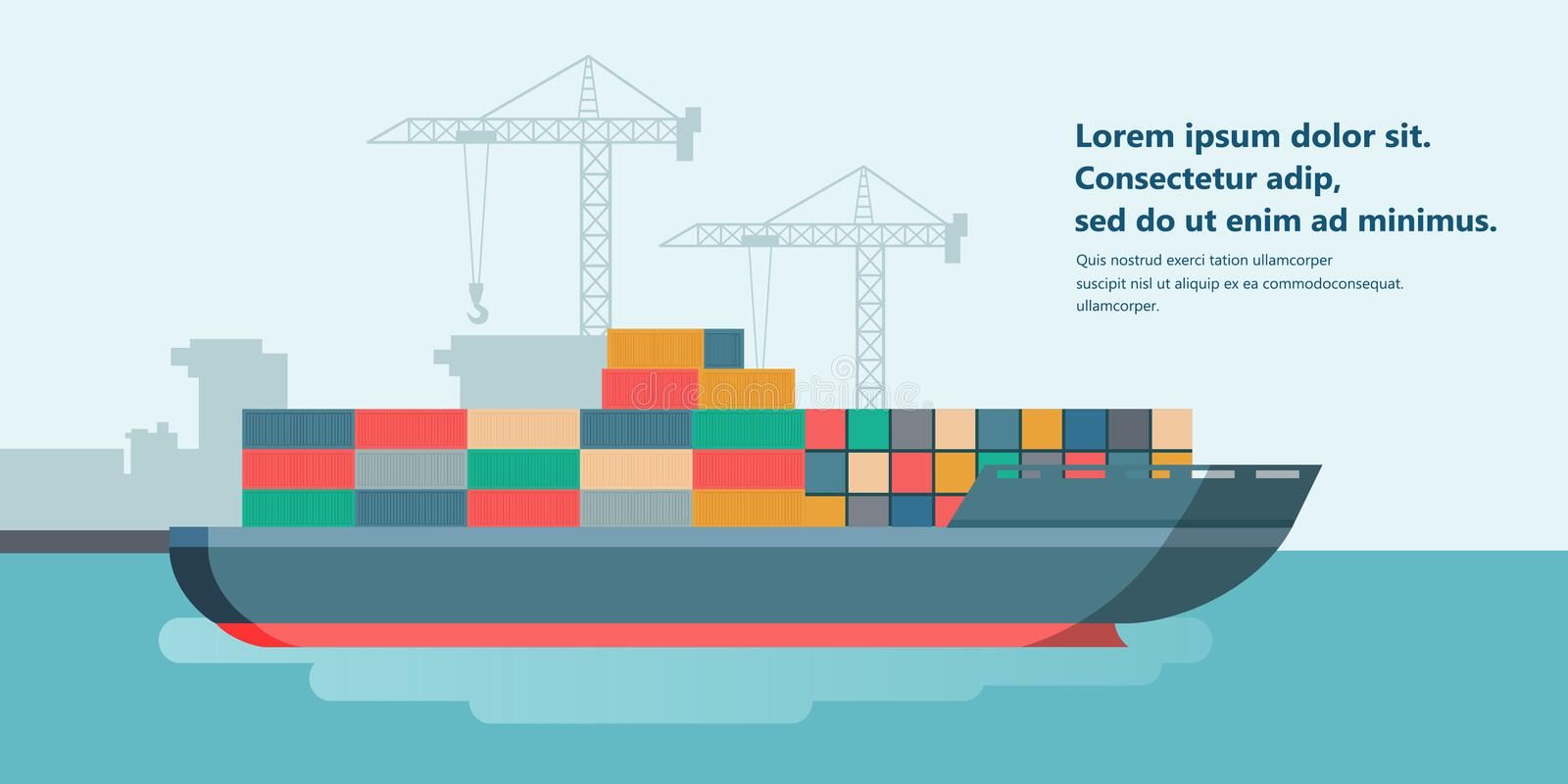 Container ship at freight port terminal Unloading. Merchant Marine. Flat vector. Illustration royalty free illustration