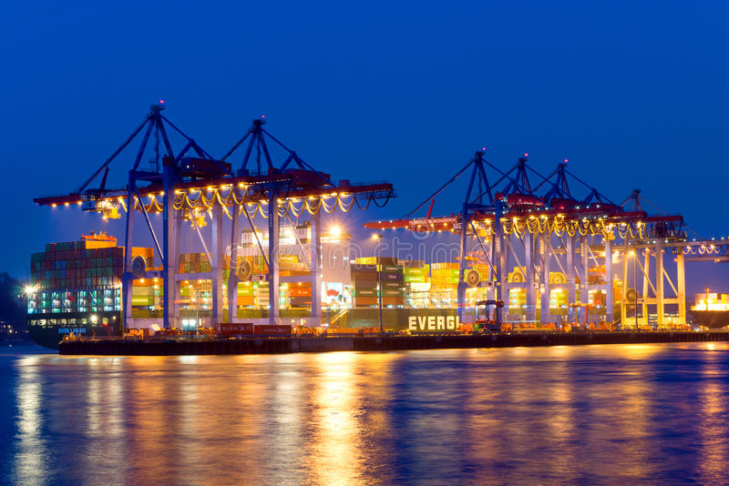 Container ship at the harbour royalty free stock image