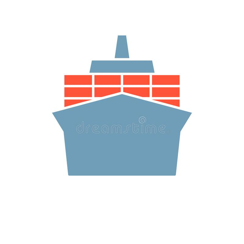 Container ship icon. Clipart image isolated on white background vector illustration