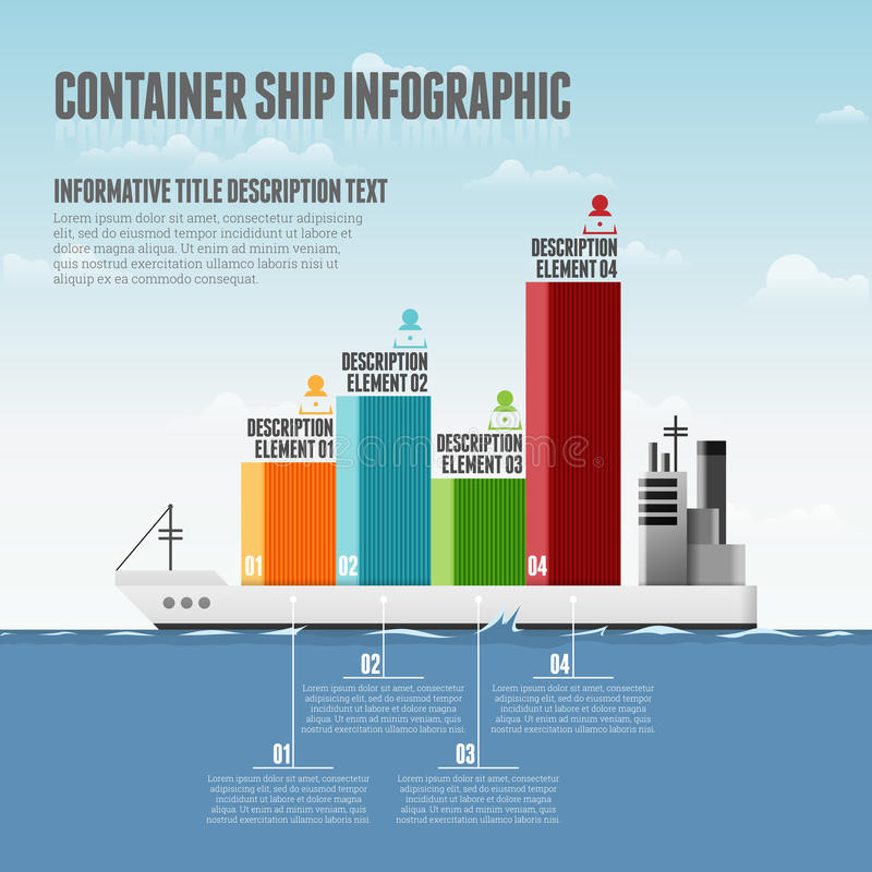 Container Ship Infographic. Vector illustration of container ship infographic design elements vector illustration