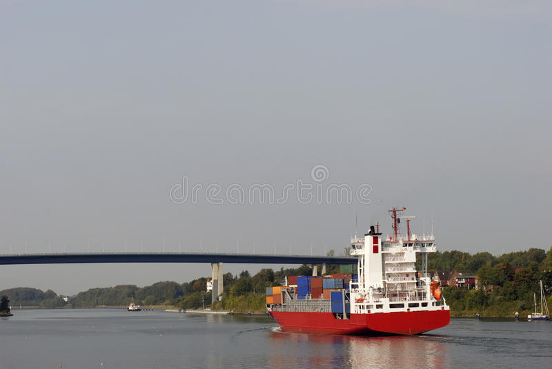 Container ship in Kiel Canal stock image
