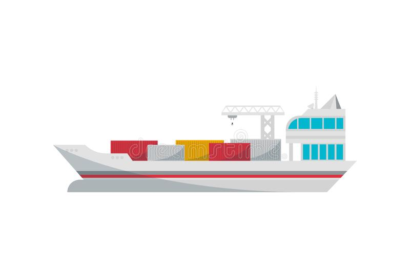 Container ship loading in port isolated icon. Worldwide delivery service, freight sea shipping illustration isolated on white background vector illustration