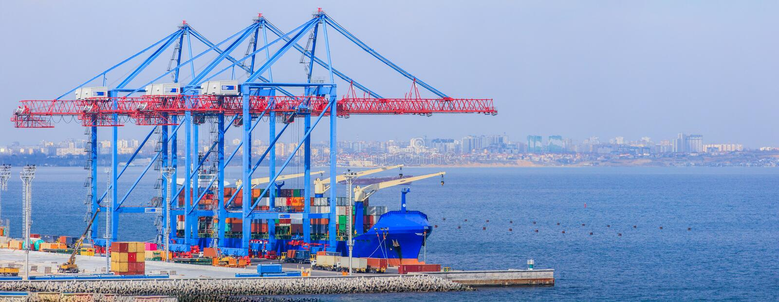 Work of the container terminal for shipping goods royalty free stock photo