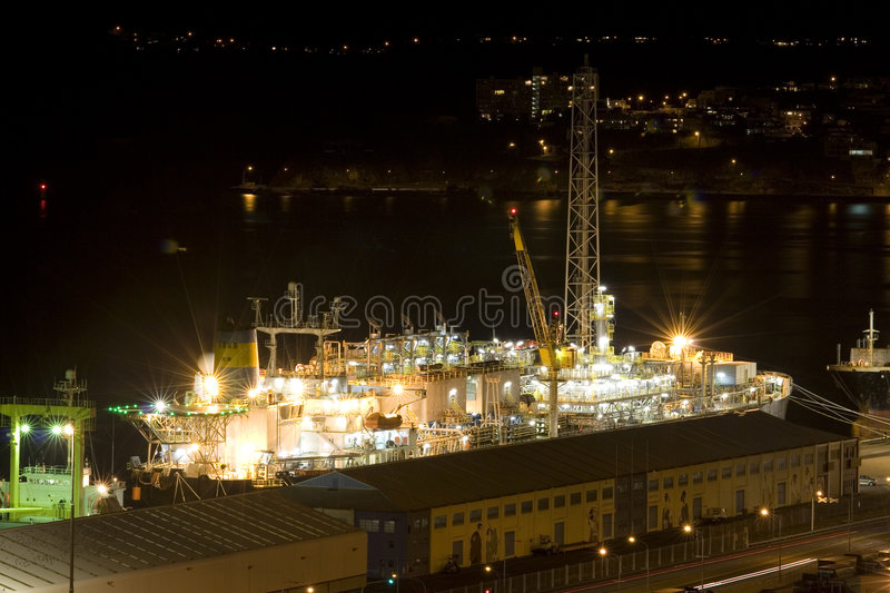 Container Ship At Night stock image