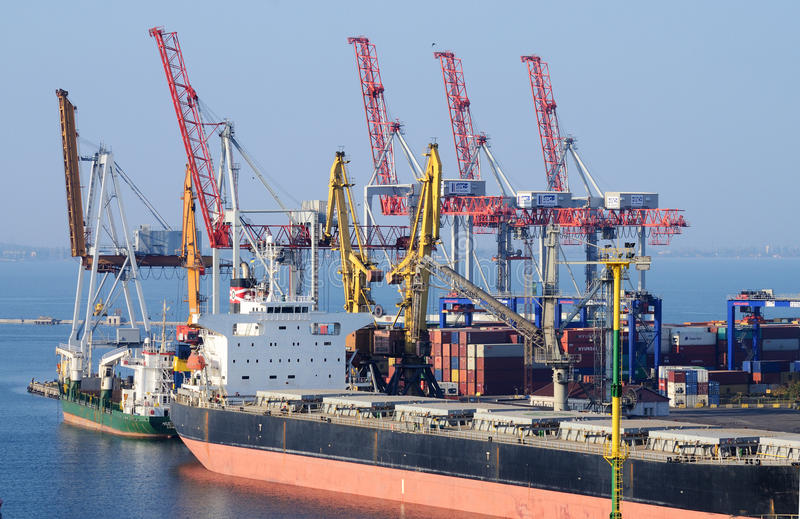 Container ship in Odessa sea port,Ukraine royalty free stock image