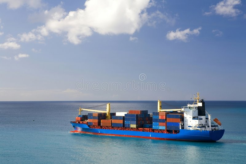 Container ship at open sea stock image