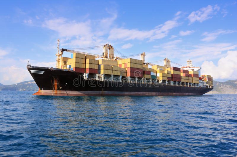 Container ship in sea royalty free stock photography