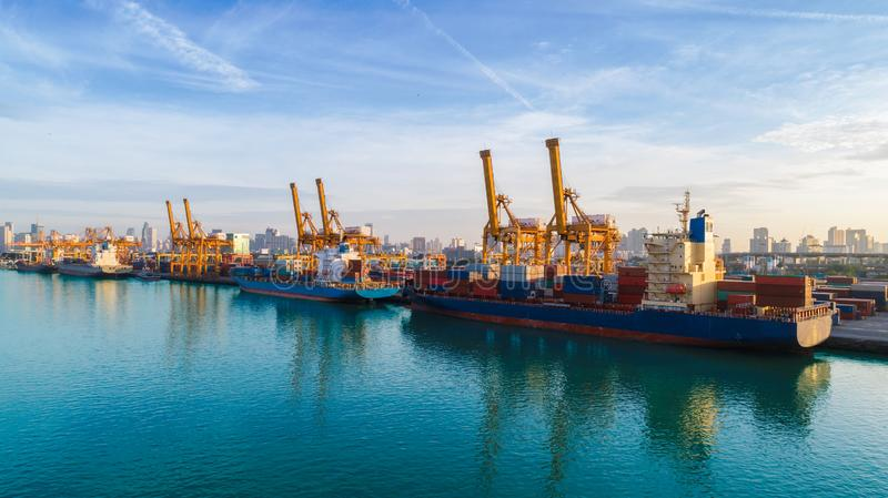 Container ship from sea port working for delivery containers shipment. Suitable use for transport or import export to global. Logistics concept royalty free stock images