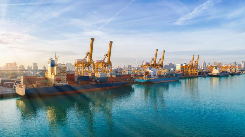 Container ship from sea port working for delivery containers shipment. Suitable use for transport or import export to global. Logistics concept royalty free stock photos