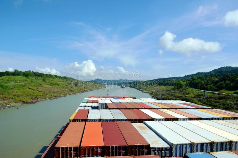 Container ship transiting through Panama Canal. Container ship transiting through Panama Canal on a sunny day, view from the navigation bridge royalty free stock photos