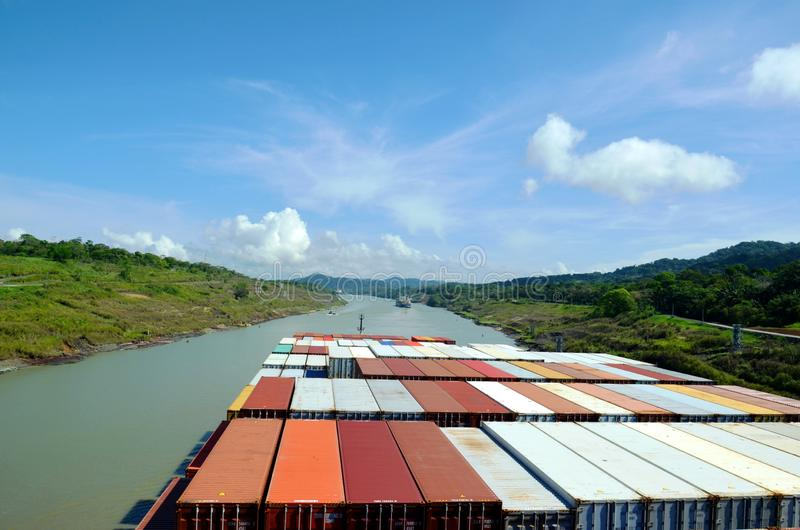 Container ship transiting through Panama Canal. Container ship transiting through Panama Canal on a sunny day, view from the navigation bridge royalty free stock image
