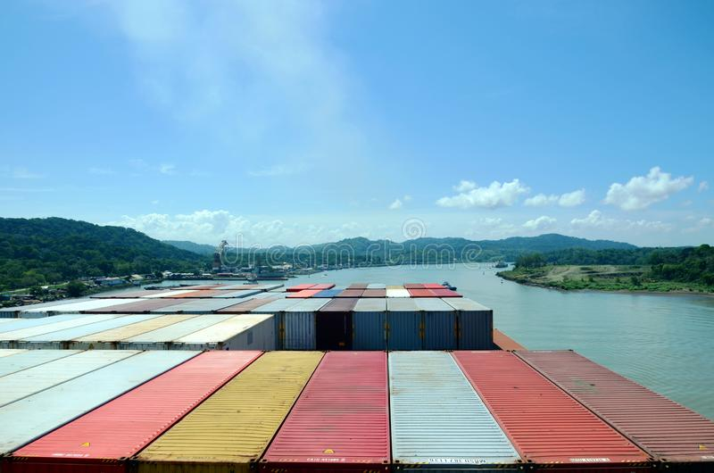 Container ship transiting through Panama Canal. Container ship transiting through Panama Canal on a sunny day, view from the navigation bridge to the vessels royalty free stock image