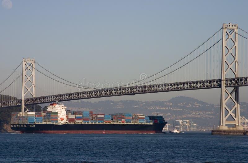 Container Ship Under Bridge Stock Photos