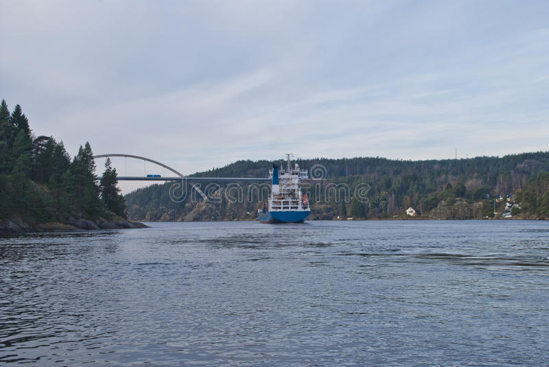 Download Container Ship Under Svinesund Bridge, Image 19 Stock Photo - Image: 27484546